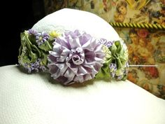 Silk Ribbon Flower Ribbonwork Sash Hatband by ConeldasCreations, $50.00