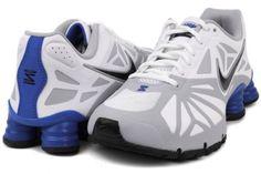 Nike Men Shox Turbo 14 Running Shoes White/Gray/Blue 631760-010  #Nike #AthleticSneakers