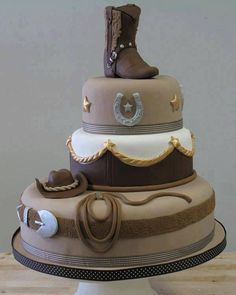 Western cake - I like the way this is positioned for the 3 tiers