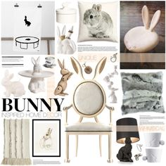 Bunny Decor by emmy on Polyvore featuring interior, interiors, interior design, home, home decor, interior decorating, Front, Asprey, H&M and Aquarelle