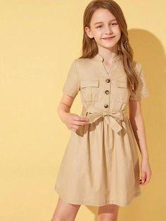 Little Girl Skirts, Dresses Kids Girl, Kids Outfits, Baby Frocks Designs, Kids Frocks Design, Belted Shirt Dress, The Dress, Girls Fashion Clothes, Fashion Dresses