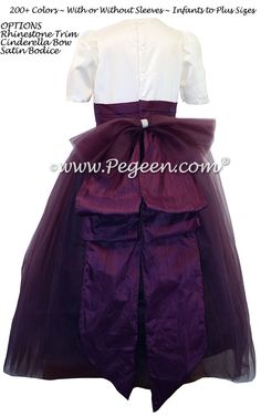 Eggplant and New Ivory silk flower girl dresses with rhinestones