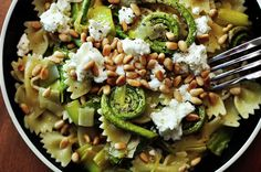 Fiddleheads and Leeks with Goat Cheese and Pine Nuts at Paprika Red