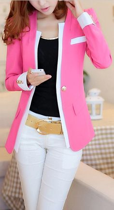 Polyester Color Block Long Sleeves Women's Blazer
