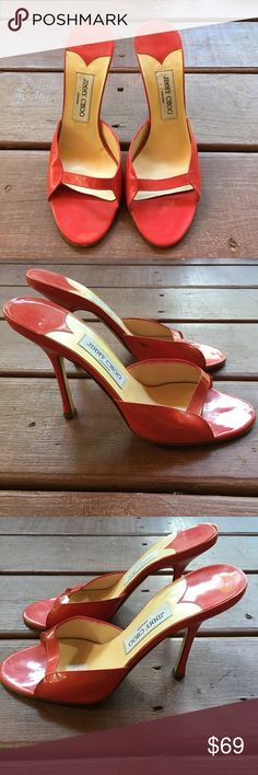 💥 Sale 💥 Jimmy Choo Sandal Beautiful Sandal by Jimmy Choo.  Patent Leather in Red.  Size - 39.5.  Great condition. Jimmy Choo Shoes Heels