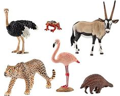 Schleich African Animals. Includes the following educational figures: Giant Pangolin, Ostrich, Leopard, Flamingo, Oryx and African Reed Frog. Hand painted, Highly detailed. toys4mykids.com