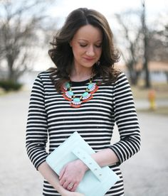 black and white stripes with spring pastels - www.lovelucygirl.com