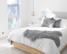Have you entered our $2000 first birthday giveaway? See our original post for details how to enter | Bedroom update from @ournordichome  how beautiful is her new  whitewashed flooring, bed featuring our collab with Lamb and Stine linen Scandi cushion range ✔️