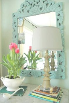 Kristie of The Decorologist shares this beautiful painted mirror finished in Duck Egg Blue Chalk Paint® decorative paint by Annie Sloan!