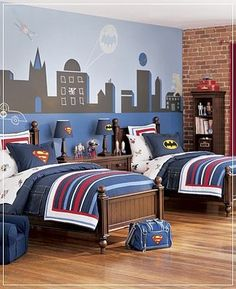 SUPER HERO ROOM!! I'm changing my room to this ASAP! Thank God I have twin beds & Superman/Batman our my faves!