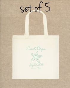 Beach Wedding Tote Bag  SET OF 5 wedding by yourethatgirldesigns, $65.00