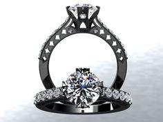 Victorian Inspired 14k Black Gold Engagement by WinterFineJewelry, $1,450.00