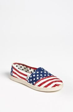TOMS 'Classic Youth - Stars & Stripes' Slip-On (Toddler, Little Kid & Big Kid) Blue/ White/ Red 13.5 M on shopstyle.com