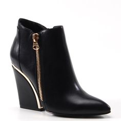 """BNIB Get Funky with this unique Bootie Heel """"Get Funky"""" in this unique heel bootie. Features: pointed toe with gold side zipper with unique block heel with gold trim  Brand: Luichiny Heel Height: 2.5"""" Block Heel Platform: 0.5  Material: IML  Fits True to Size Luichiny Shoes Ankle Boots & Booties"""