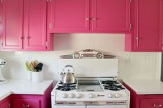 Diana La Counte, from blog Our City Lights isn't afraid of a little colour. Her bold pink kitchen cabinets have got us inspired to be a little braver with the colour chart.