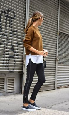 Color Coded: Camel   Black.  Shop my closet.  Cashmere and... w/a great bag, tennies, low ponytail.