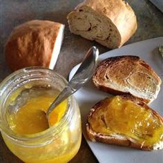 Mango Jam... I used fresh frozen mango n a few tbsp lime juice in this. One (24 servings) batch made 2 and a half jelly jars. A very pretty jam with less sugar than most, uses natural pectin not packaged pectin, and an interesting cooking method. I tried this out before pinning so there u go :) happy jamming!