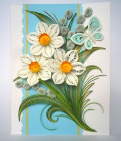 Special order for Joyce Miller Reed - Refined Spring Quilling Card - Quilling Card - Quilled Card - Quilling card with tender daffodils Quiling Paper Art, Paper Quilling Cards, Paper Quilling Flowers, Quilling Craft, Quilling Flowers Tutorial, Quilling Patterns, Quilling Designs, Diy Arts And Crafts, Paper Crafts