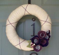 Yarn Wreath Felt Handmade Door Decoration Plumtastic by ItzFitz, $45.00
