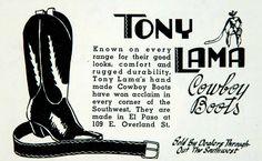 1941 Ad - Tony Lama Cowboy Boots - 109 E Overland St., El Paso, TX