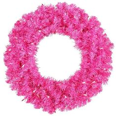 Pink Christmas Wreath Prelit Hot Pink Wreath 24in 50 Pink Lights ❤ liked on Polyvore
