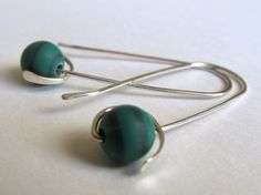 Wire Earrings Sterling Silver Earrings Argentium Earrings with Green Striped Beads - Paddle, Hammered, Green Earrings. $22.00, via Etsy.