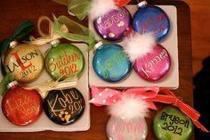 Gorgeous glitter and Silhouette vinyl ornaments by Amy Vaughn/ Vinyl Christmas Ornaments, Glitter Ornaments, Christmas Love, Christmas Ideas, Holiday Ideas, Custom Ornaments, Personalized Ornaments, Christmas Balls, Glass Ornaments