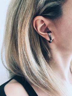 Black ear cuffs,black earrings,black rhodium cuffs,black suspender earrings,edgy earrings,earrings for men,men's earrings,black mens earring by KathyRossJewelry on Etsy https://www.etsy.com/listing/596339797/black-ear-cuffsblack-earringsblack