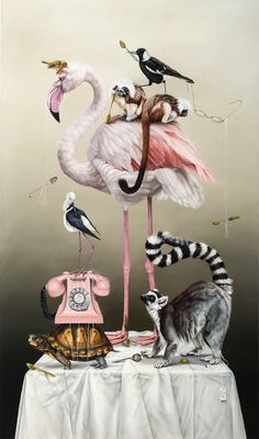 """""""A Greater Display of Patience"""", oil on canvas, 170 x 100 cm by Kate Bergin Illustrations Pop, Illustration Art, Fashion Illustrations, Flamingo Art, Pink Flamingos, Flamingo Painting, Pink Bird, Arte Pop, Pics Art"""