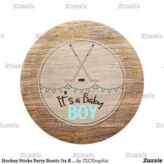 Hockey Sticks Party Rustic Its A Boy Baby Shower Paper Plate. This product features crossed hockey sticks with a wood background. Great for a rustic, country hockey themed baby shower. #itsaboy #rustic #hockey #baby #shower