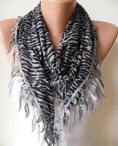 Black and Grey  Leopard and Elegance Shawl / Scarf  by SwedishShop, $15.90