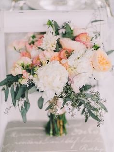 peach and eucalyptus bouquet, photo by Rachel May Photography http://ruffledblog.com/clifton-inn-wedding-inspiration #weddingbouquet #flowers