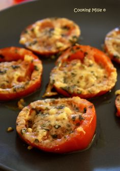 Tomatoes au gratin with parmesan - Cooking Milie - Trend Healthy Cocktail Recipes 2019 Spicy Recipes, Dip Recipes, Lunch Recipes, Summer Recipes, Cooking Recipes, Healthy Recipes, Parmesan, Healthy Cocktails, Deviled Eggs Recipe
