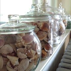I have done this with all my sea glass and shells even sand. I used the small shampoo bottles from my honeymoon to to keep the small sea glass in its great remind for the honeymoon and a day at the beach with my husband