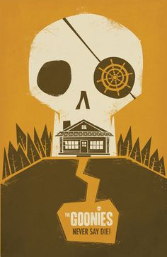 So many good Goonies posters. The Goonies by Jorsh Pena Best Movie Posters, Minimal Movie Posters, Minimal Poster, Movie Poster Art, Film Posters, Rock Posters, Os Goonies, Goonies Party, Poster Minimalista
