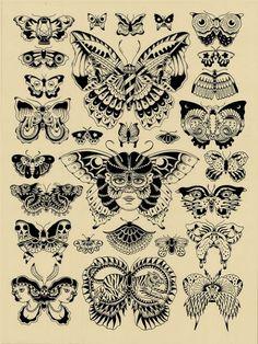 Tatouages papillon traditionnels. 23678