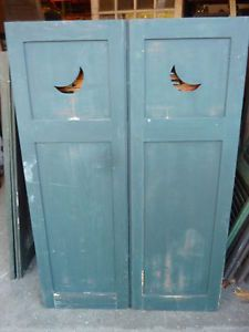 Pair C1890 1900 Moon Cutout Paneled Wooden House Shutters 59 H X 20 W 1 3 8 Ebay Stuff In 2018 Pinterest And