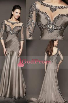 2015 elegant Evening Dresses Chapel Train Mermaid Bateau ruched Bodice with  beading Chifon Dress ccbfa7fd0342