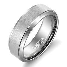 MNH 8mm Tungsten Carbide Ring Men's Wedding Band Ring Comfort Fit Matte Finish Size 5-14