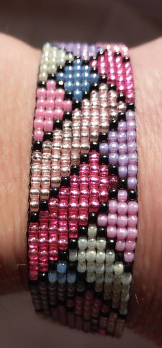 Bracelet woven on a loom The It consists toho 11/0 seed beads. Total length (including the entire clasp) is 7,4 inches (18,5 cm), Bracelet width 0,76 inches (1,9cm) ready to ship