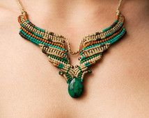 Ethnic Crysocolla macrame necklace ~ ethnic , tribal , boho , bohemian , hippie ~ beige, blue , orange , brown, green waxed threads