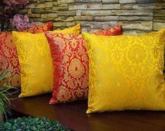DesiDIY by DesidiyCreations on Etsy Diy Cushion Covers, Cushion Cover Designs, Yellow Cushion Covers, Pillow Covers, India Home Decor, Ethnic Home Decor, Cushion Embroidery, Indian Home Interior, Silk Curtains