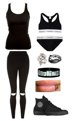 """•playing the drums•"" by katyb101 ❤ liked on Polyvore featuring Calvin Klein, Converse and Elise Dray"