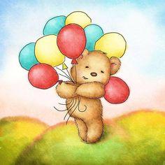 Bear holding balloons