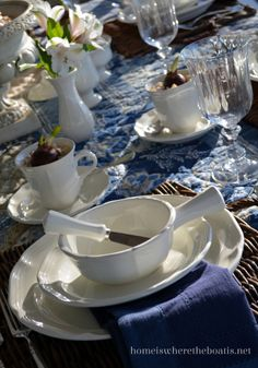 Mikasa French Countryside & Brown and white tablescape. Mikasa French Countryside dinnerware ...