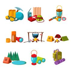 Hiking and Camping Icons Set  by TopVectors on @creativemarket