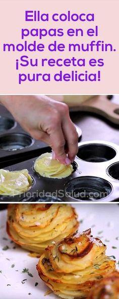 Ella coloca papas en el molde de muffin. ¡Su receta es pura delicia! Vegetarian Recipes Easy, Veggie Recipes, Healthy Recipes, Vegetarian Food, Easy Cooking, Cooking Time, Cooking Recipes, Muffins, Family Meals