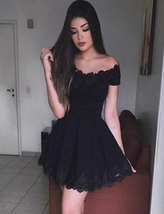 A-Line Off the Shoulder Short Sleeves Black Satin Short Homecoming Dress with Lace Lace Homecoming Dresses, Hoco Dresses, Trendy Dresses, Evening Dresses, Formal Dresses, Bridesmaid Dress, Elegant Dresses, Wedding Dresses, Sexy Dresses