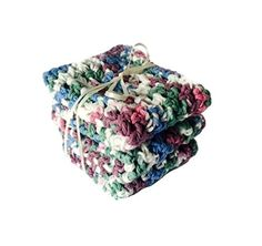 Kitchen Dish Cloths White Blue Green Purple Cotton Set of 3 Handmade Crochet