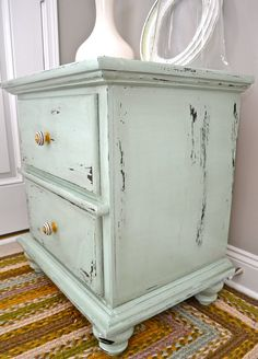 distressed robin's-egg-blue nightstand